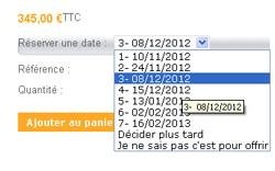 Sélection de dates proposées sur la fiche produit